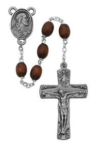 BROWN WOOD TRINITY CROSS ROSARY 7MM R392DF