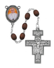 POPE FRANCIS BROWN WOOD ROSARY WITH PHOTO CENTER 6X8MM R412DF