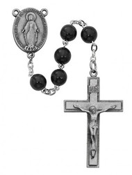 BLACK WOOD ROSARY 7MM R434F