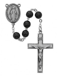 BLACK WOOD ROSARY 7MM 4434LF