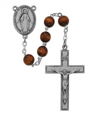 BROWN WOOD ROSARY 7MM R435LF