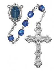BLUE METALLIC ROSARY 7MM R438RF