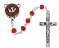 RED GLASS HOLY SPIRIT ROSARY 6MM R440DF