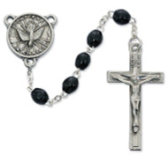 BLACK WOOD HOLY SPIRIT ROSARY 4X6 R447DF