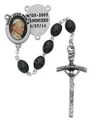 ST. JOHN PAUL II CANONIZED 4/27/14 BLACK WOOD ROSARY 6X8MM R480DF
