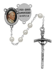 ST. JOHN PAUL II CANONIZED 4/27/14 PEARL ROSARY 6MM R481DF