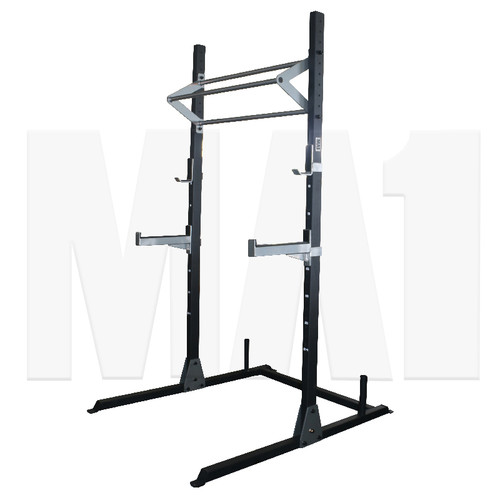 Work out your legs, calves and quad muscles with this Squat Rack. For anyone who wants to train alone, this Squat Stand allows you to safely work out and helps you keep in the correct posture.  Versatile, if you set this squat stand with a bench, you can also workout your back and arms with bench presses, bicep curls, shrugs, and upright rows.  Set with 2 J Hooks, you can even do barbell lifts easily. Designed with standard holes, you can adjust the spotting arms and j hooks to suit your needs.