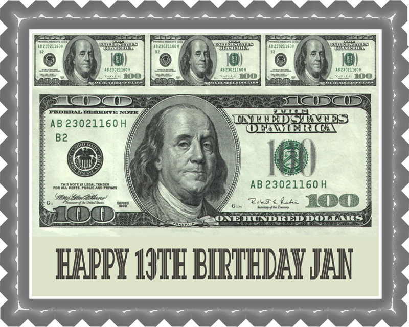 100 dollar bills B Edible Birthday Cake Topper