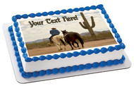 Cowboy with Two Horses - Edible Cake Topper OR Cupcake Topper, Decor