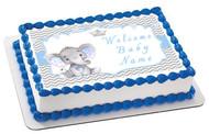 Mocsicka Boy Elephant Baby Shower - Edible Cake Topper OR Cupcake Topper, Decor