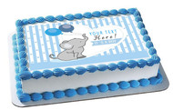 It's a Boy Elephant Baby Shower - Edible Cake Topper OR Cupcake Topper, Decor