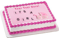 Its a girl pink Newborn Baby shower - Edible Cake Topper OR Cupcake Topper, Decor