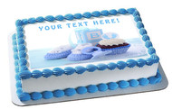Its a Boy Blue Baby Shower - Edible Cake Topper OR Cupcake Topper, Decor