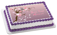 Tree with Owl- Edible Cake Topper OR Cupcake Topper, Decor