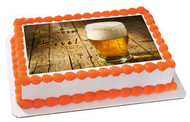 Glass of Beer on Wooden Table- Edible Cake Topper OR Cupcake Topper, Decor