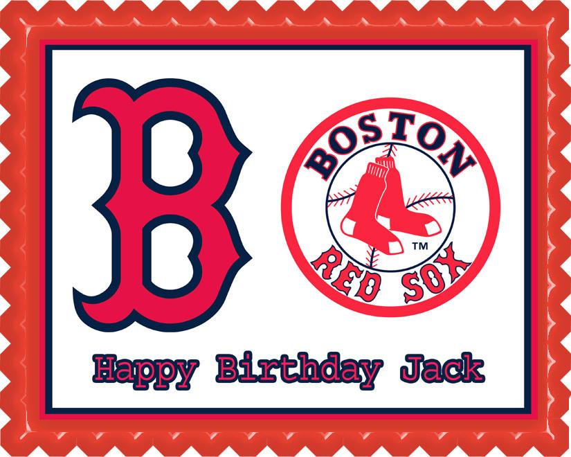 BOSTON RED SOX Edible Birthday Cake Topper OR Cupcake Topper, Decor