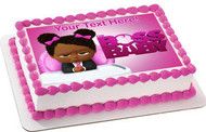 African American Boss Baby Girl - Edible Cake Topper OR Cupcake Topper, Decor