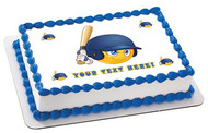 Baseball batter or hitter player emoticon - Edible Cake Topper OR Cupcake Topper, Decor