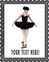 Ballerina in Black Swan - Edible Cake Topper OR Cupcake Topper, Decor
