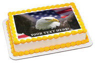 Bald eagle with American flag - Edible Cake Topper OR Cupcake Topper, Decor