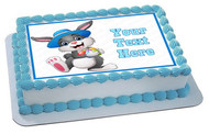 Happy easter bunny wearing a hat carrying eggs - Edible Cake Topper OR Cupcake Topper, Decor
