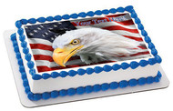 American Flag with Eagle Head - Edible Cake Topper OR Cupcake Topper, Decor