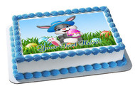 Easter Bunny with Egg - Edible Cake Topper OR Cupcake Topper, Decor