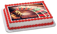 Roulette wheel in casino - Edible Cake Topper OR Cupcake Topper, Decor