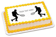 Woman tennis player silhouette - Edible Cake Topper OR Cupcake Topper, Decor