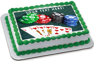 Poker Cards and Chips - Edible Cake Topper OR Cupcake Topper, Decor