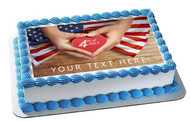 4th of July (Nr5) - Edible Cake Topper OR Cupcake Topper, Decor