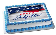 4th of July (Nr6) - Edible Cake Topper OR Cupcake Topper, Decor