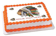 Chief with Indian headdress - Edible Cake Topper OR Cupcake Topper, Decor