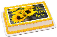 Yellow Sunflower Bouquet on Wooden Rustic (Nr2) - Edible Cake Topper OR Cupcake Topper, Decor