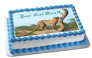 Roaming Cheetah, Safari, Wild - Edible Cake Topper OR Cupcake Topper, Decor