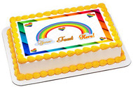 Rainbow Theme - Edible Cake Topper OR Cupcake Topper, Decor