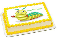 Cute Caterpillar - Edible Cake Topper OR Cupcake Topper, Decor
