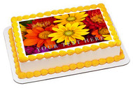 Autumn flowers - Edible Cake Topper OR Cupcake Topper, Decor