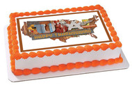 Thanksgiving American Folk - Edible Cake Topper OR Cupcake Topper, Decor