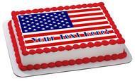 AMERICAN FLAG (Nr2) - Edible Cake Topper OR Cupcake Topper, Decor