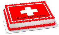 Switzerland flag - Edible Cake Topper OR Cupcake Topper, Decor