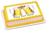 Beers with drink flash icon - Edible Cake Topper OR Cupcake Topper, Decor
