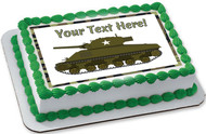 Military Sherman Tank - Edible Cake Topper OR Cupcake Topper, Decor