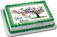 Two Grey Owls - Edible Cake Topper OR Cupcake Topper, Decor