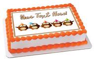 Cute Birthday Owls - Edible Cake Topper OR Cupcake Topper, Decor