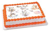 Baby Rabbit and Bear Animal - Edible Cake Topper OR Cupcake Topper, Decor