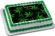 Weed Leaf - Edible Cake Topper OR Cupcake Topper, Decor