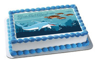 Sea with Dolphin and Turtles - Edible Cake Topper OR Cupcake Topper, Decor
