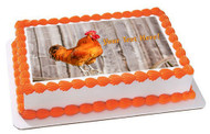 Singing Red Rooster - Edible Cake Topper OR Cupcake Topper, Decor