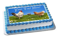 Chickens and on the Green Meadow - Edible Cake Topper OR Cupcake Topper, Decor